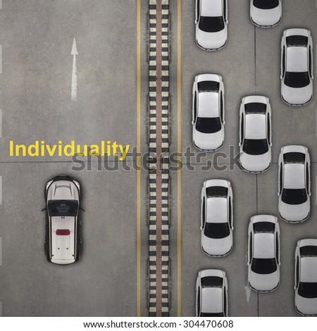 Think different concept, Aerial view over the road - stock photo