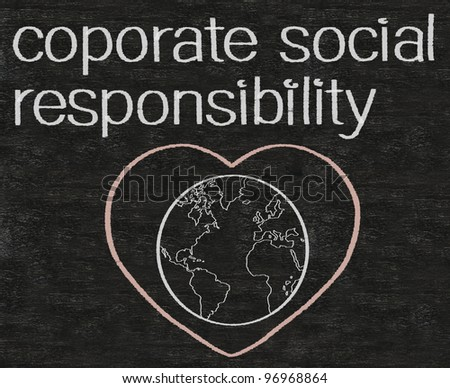 think green cooporate social responsibility written on blackboard background - stock photo