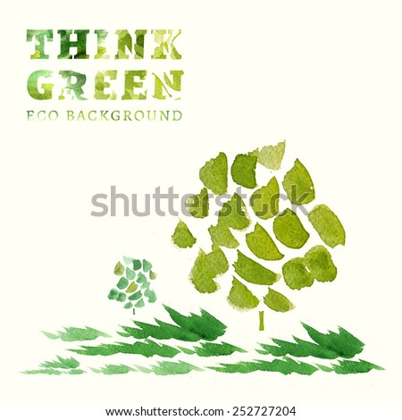 Think Green. Ecology Concept. The Illustration with environmentally friendly background.