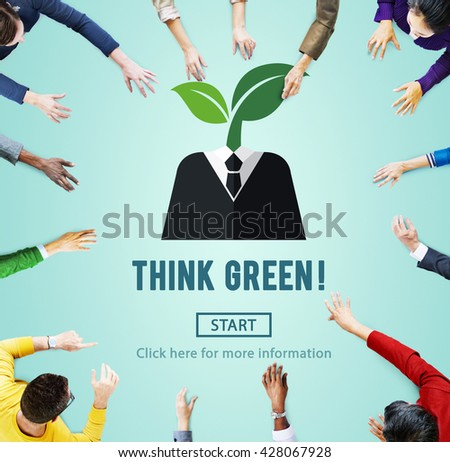 Think Green Ecology Environmental Conservation Concept - stock photo