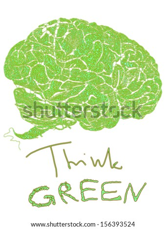 Think GREEN hand drawn illustration with floral wrinkles human brains - stock photo