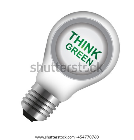 Think Green Icon Inside Light Bulb Isolated on White Background - stock photo