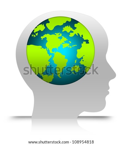 Think Green, Stop Global Warming or Save The Earth Concept  Isolated on White Background - stock photo