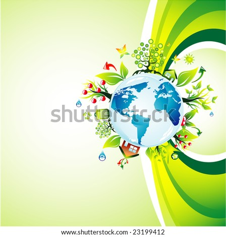 Think green to save the planet background