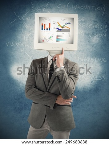 Think like a man working as computer - stock photo