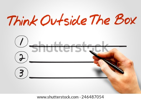 Think Outside The Box blank list, business concept - stock photo