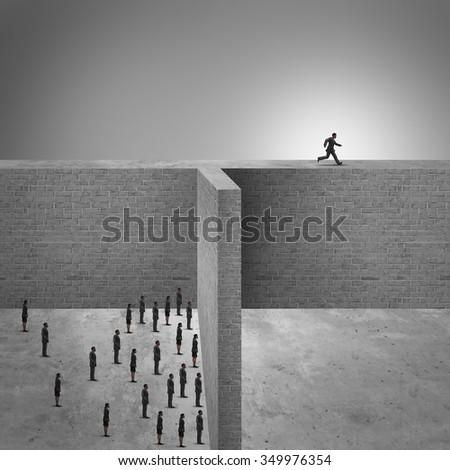 Think outside the box business success concept as a group of people trapped by high brick walls and a clever businessman leading the pack by finding a new way to success by running on the ledge. - stock photo