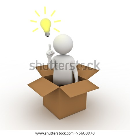 Think outside the box concept, 3d man standing in cardboard box with idea lightbulb on white background