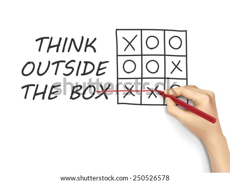 think outside the box drawn by hand over white background