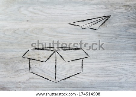 Think Outside Box Paper Airplane Flying Stock Illustration - Box paper airplane