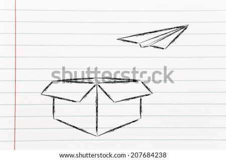 Think Outside Box Business Success Stock Illustration - Box paper airplane