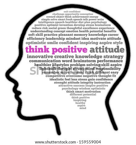 Think positive attitude in head shape words cloud - stock photo
