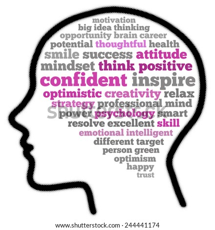 Think positive in word collage - stock photo