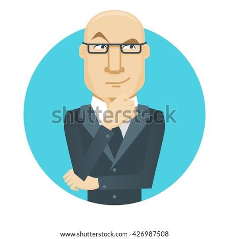 Thinker. A thinking man. Cartoon illustration. - stock photo