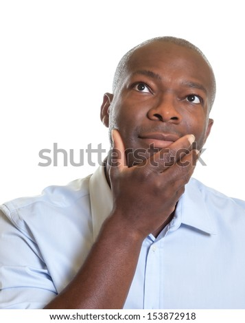 Thinking african man - stock photo