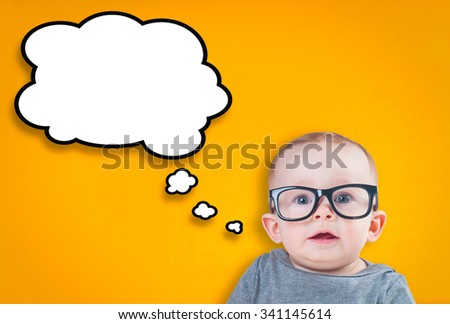 Thinking baby with glasses