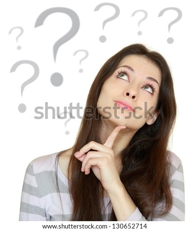 Thinking beautiful woman with question sign under head isolated on white background - stock photo