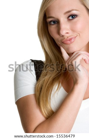 Thinking Blond Woman - stock photo