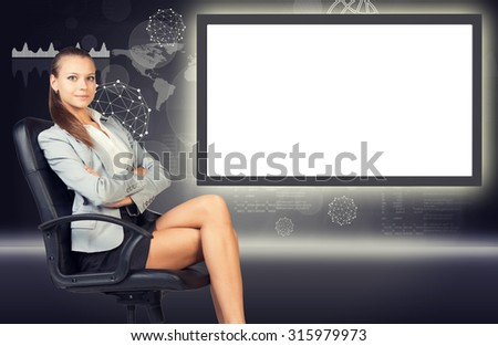 Thinking business lady sitting in chair with crossed arms on abstract background with empty square shape place