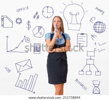 Thinking business woman - stock photo