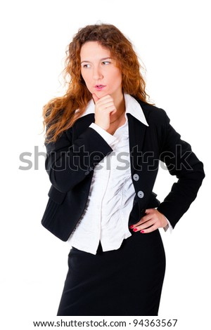 Thinking business woman. Isolated over white background