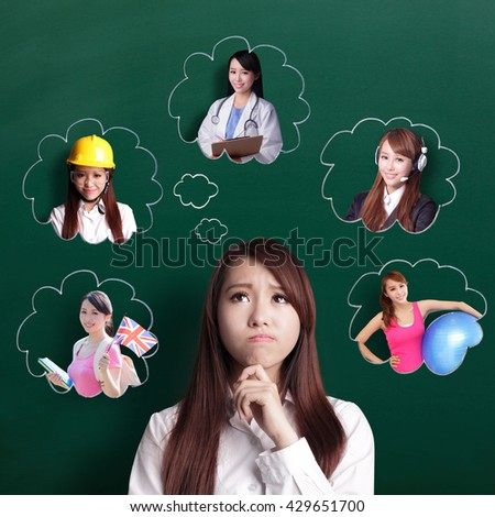 thinking business woman look and think her future and job, asian beauty - stock photo