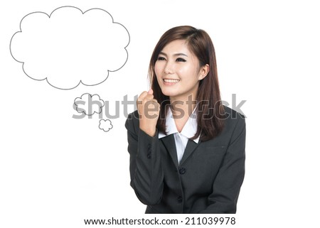 Thinking business woman looking up on empty bubble,Thai girl.Closeup portrait successful smiling lady,Positive human emotions,facial expressions,feeling ,signs,symbol,shot isolated on white background - stock photo