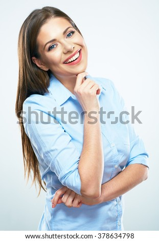 Thinking business woman portrait. Isolated studio portrait. - stock photo