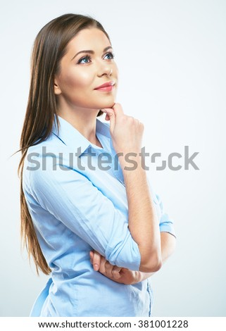 Thinking business woman portrait. Isolated studio portrait.
