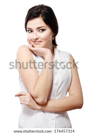 Thinking business woman smiling looking aside at copy space. Beautiful young professional isolated on white background.  - stock photo