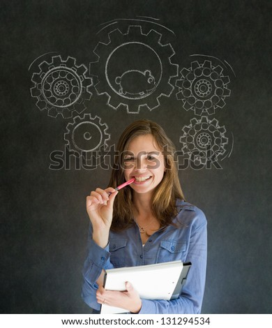 Thinking business woman turning gear cogs and running hamster