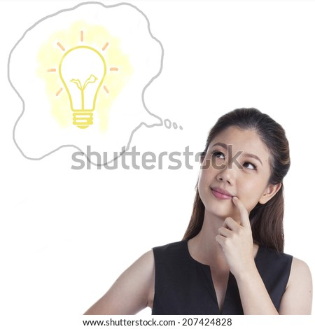 Thinking business xwoman standing pensive contemplating looking up for inspiration. Beautiful multi-racial Caucasian / Asian businesswoman isolated on white background. - stock photo