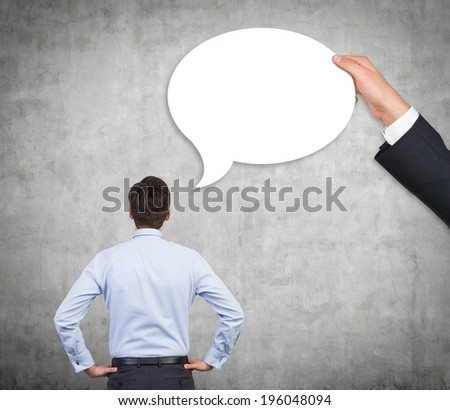 Thinking businessman and a bubble.  - stock photo