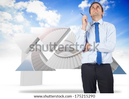 Thinking businessman holding pen against closed and open doors in sky