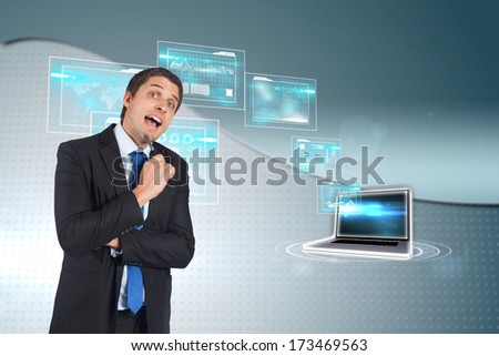 Thinking businessman holding pen against wave on futuristic background
