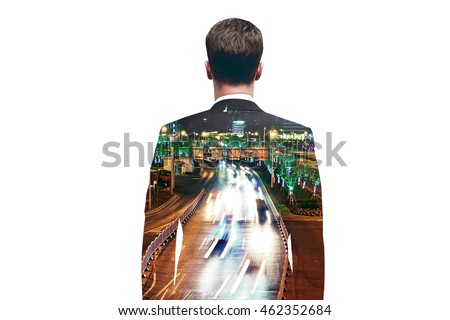Thinking businessman on city road background. Double exposure