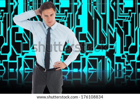 Thinking businessman scratching head against abstract technology background