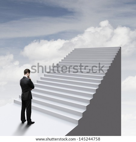 thinking businessman standing near ladder in sky - stock photo