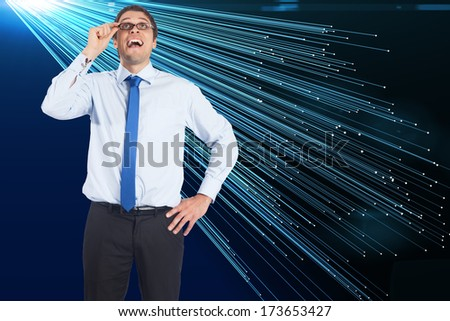 Thinking businessman tilting glasses against file transfer background