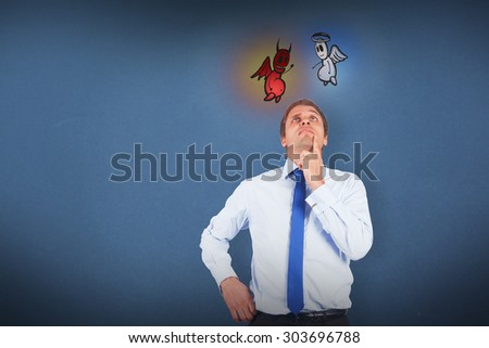 Thinking businessman touching his chin against blue background - stock photo