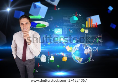 Thinking businessman touching his chin against boxes on technical background, elements of this image furnished by NASA