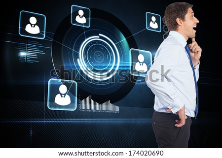 Thinking businessman touching his chin against futuristic technology interface