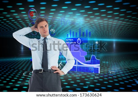 Thinking businessman with hand on head against keyhole on technological glowing background
