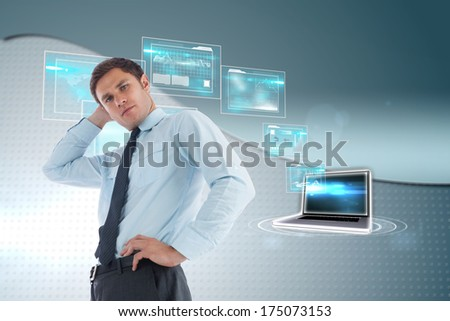 Thinking businessman with hand on head against wave on futuristic background