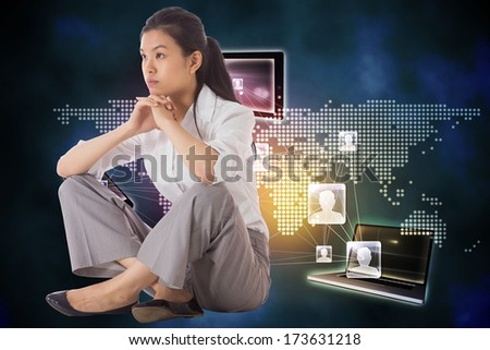 Thinking businesswoman sitting with hands together against global connection background - stock photo