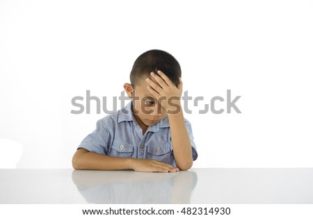 Thinking child bored, frustrated on white background