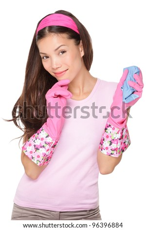 Thinking cleaning woman looking at camera smiling pensive. Beautiful cute pink cleaning girl waring cleaning rubber gloves isolated on white background. Multiracial Asian / Caucasian cleaning lady. - stock photo