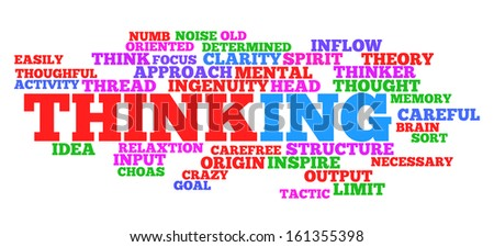 Thinking concept in word tag cloud on white - stock photo