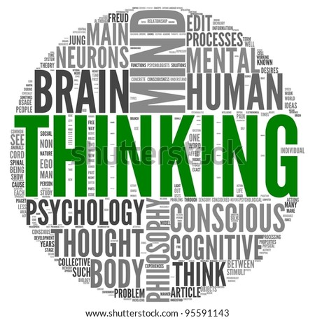 Thinking concept in word tag cloud on white background - stock photo