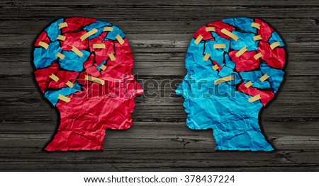 Thinking exchange and idea partnership business communication concept as a red and blue human head cut from crumpled paper as a symbol for understanding political opinions or cultural differences. - stock photo